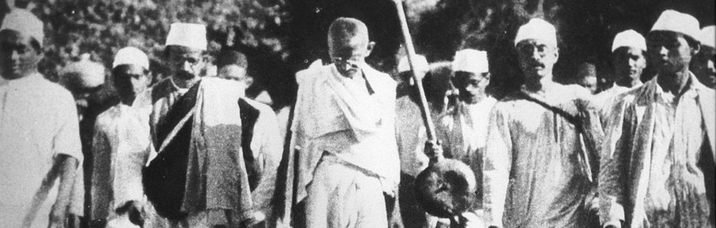 Mahatma Gandhi on the Salt March in 1930.