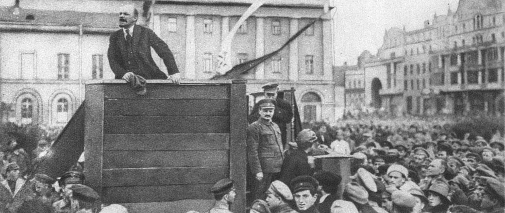Vladimir Lenin addresses a crowd.