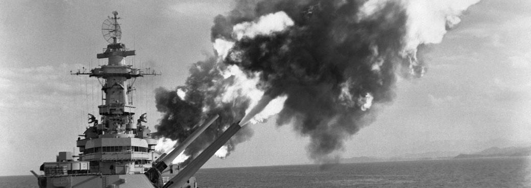 USS New Jersey firing on enemy.