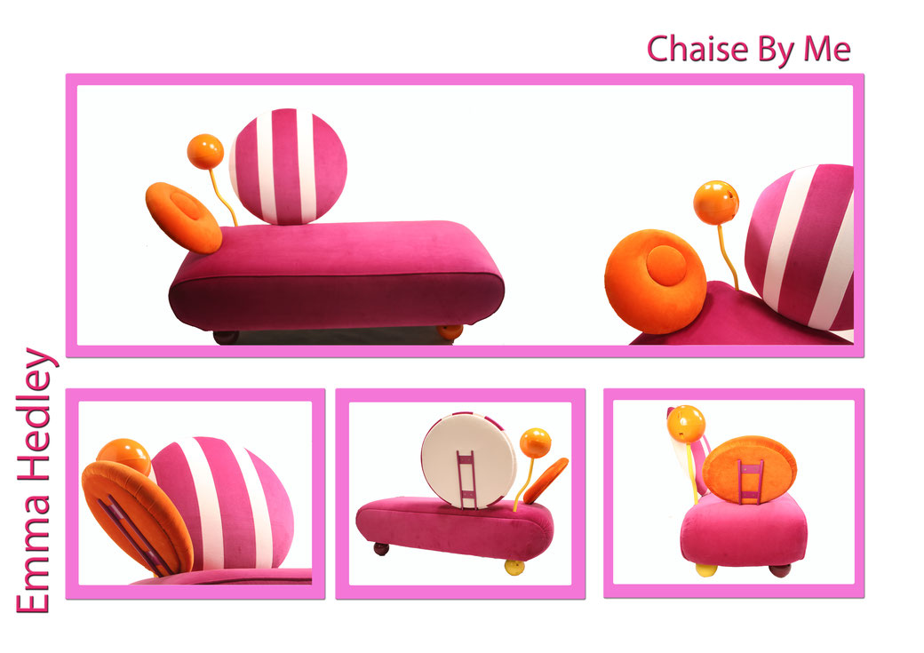 Emma Hedley 'Chaise by Me' Handmade Chaise Longue inspired by Memphis Design made in 2007 as her final degree show piece