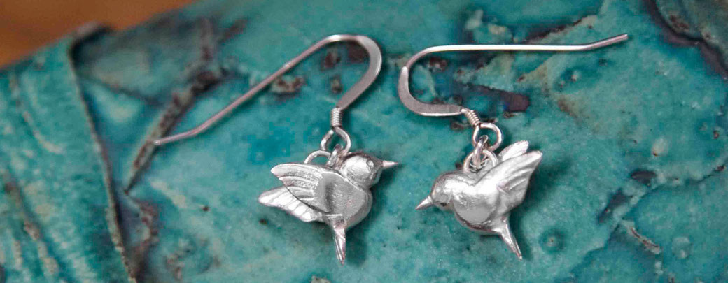 Emma Hedley silver hummingbird earrings