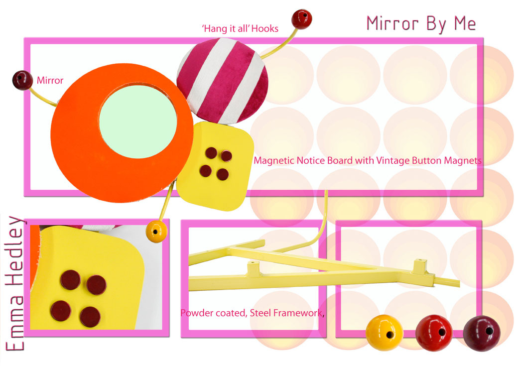 Mirror by Me inspired by Memphis vintage buttons and beads and the Vitra Eames Hang it all hooks