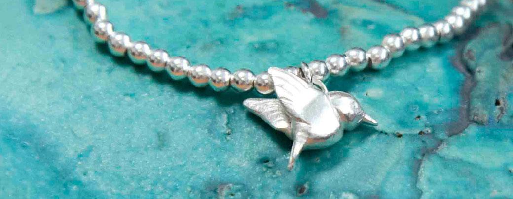 silver hummingbird charm bracelet