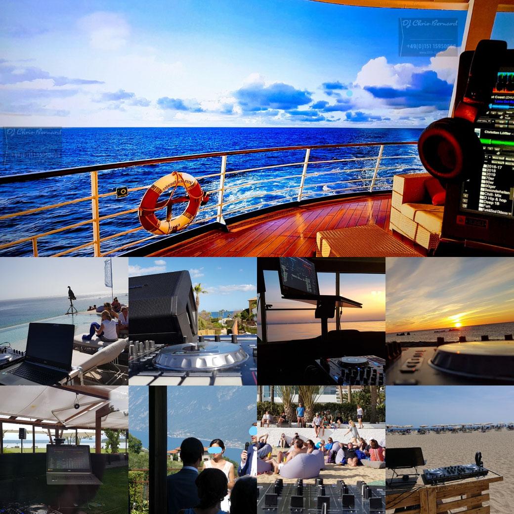 DJing am Strand, am Meer, auf dem Boot, am Hotel - überall sorgt DJ Chris Bernard für die übergreifende Stimmung