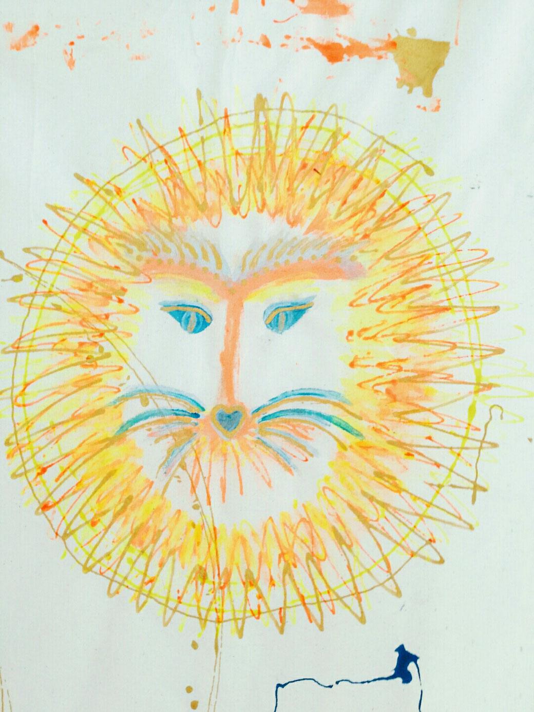 D.I.Y. Kunst Geschichten fürs Kinderzimmer, Stoffmalerei, Wandbehang, Wandbild, Gästebuch,Bilderbuch aus Stoff, mit Kindern malen, wilder Löwe