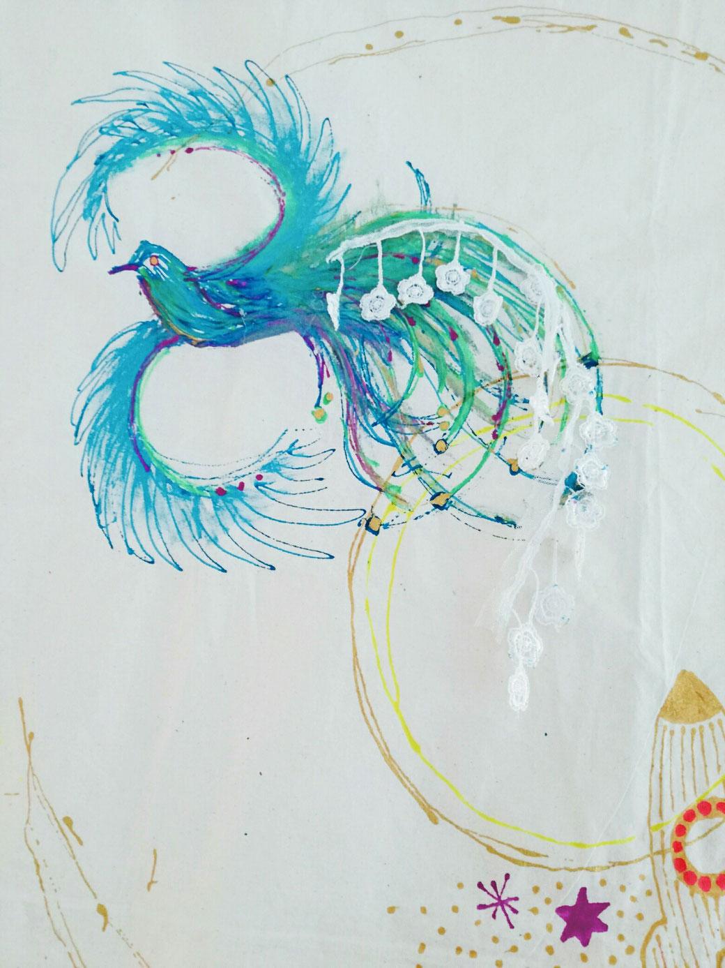 D.I.Y. Kunst Geschichten fürs Kinderzimmer, Stoffmalerei, Wandbehang, Wandbild, Gästebuch,Bilderbuch aus Stoff, mit Kindern malen, Paradies Vogel