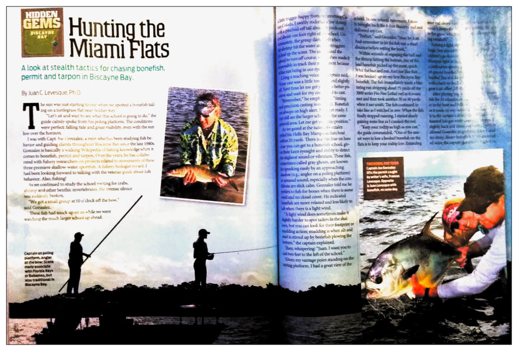 Juan C. Levesque, Fishery Biologist; Feature Magazine Artice:Hunting the Miami Flats (Florida Sportsman Magazine August/September 2020)