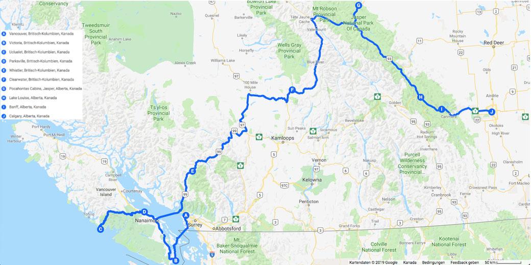 Unsere Route an der Westküste. Dazu kommt noch ein Abstecher nach Toronto auf dem Rückweg.