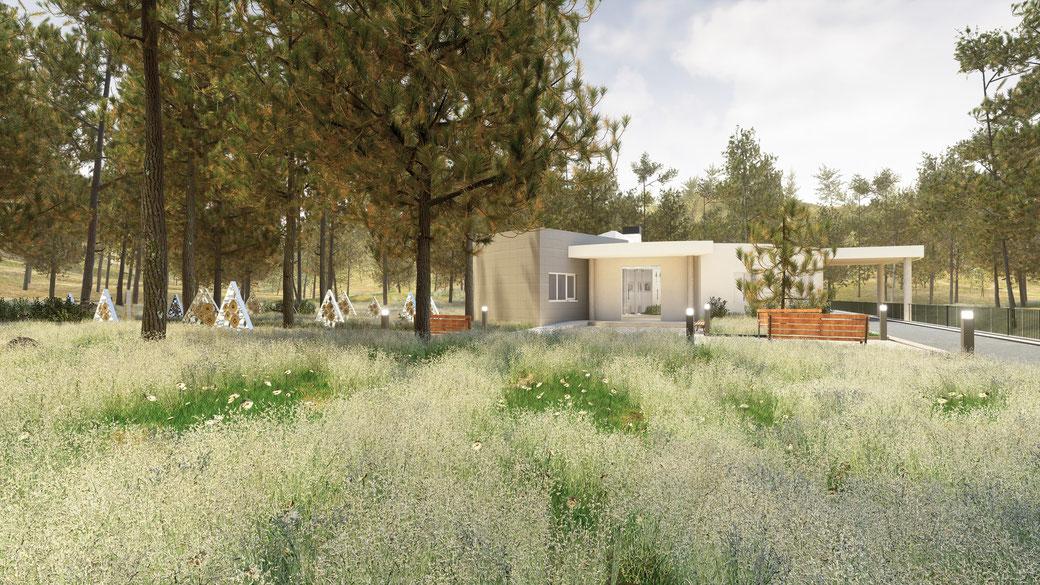 Render 3D para un baño de una promoción de viviendas