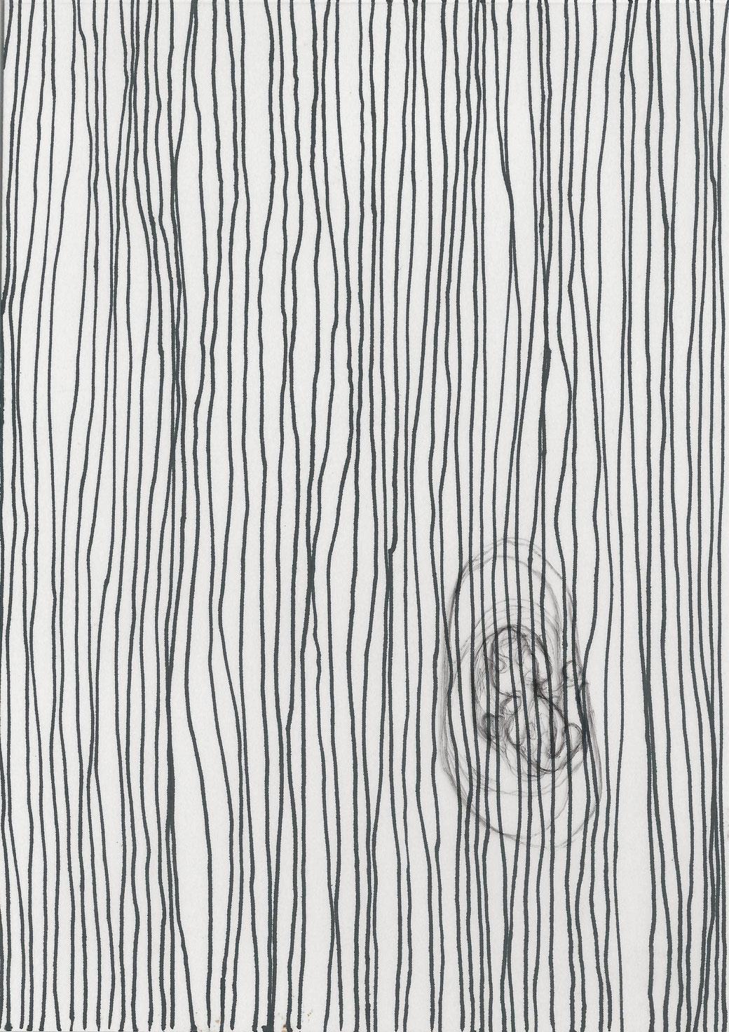 Titel: Elisa, Material: Feinleiner und Kugelschreiber auf Papier und Folie, Entstehungsjahr: 2019, von: Damaris Rohner