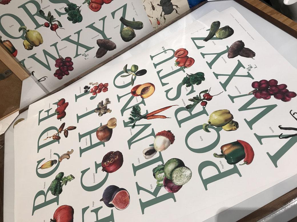 """Ich zeichne und aquarelliere die Objekte und gestalte dann damit grafisch das Motiv - hier """"Wissensposter Obst"""".  Für die Übersetzungen arbeite ich mit Fachleuten und Muttersprachlern zusammen. Eine arabische Übersetzung ist zur Zeit in Arbeit."""