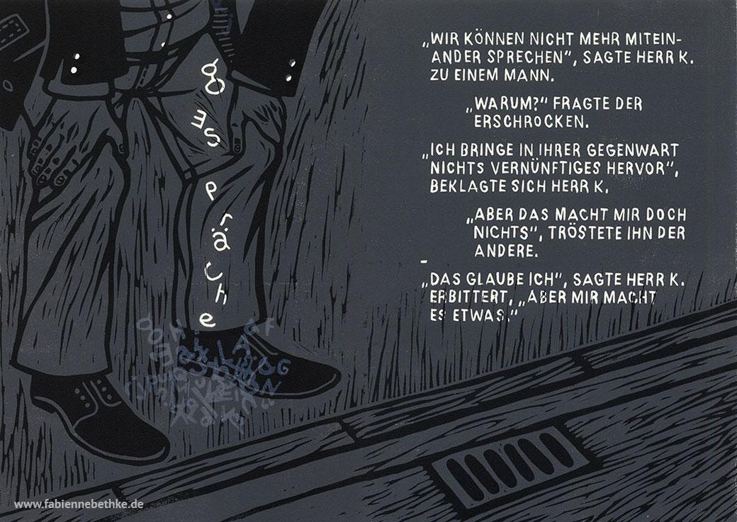 Brechts Geschichten vom Herrn Keuner: Gespräche (Linolschnitt, Bütten)