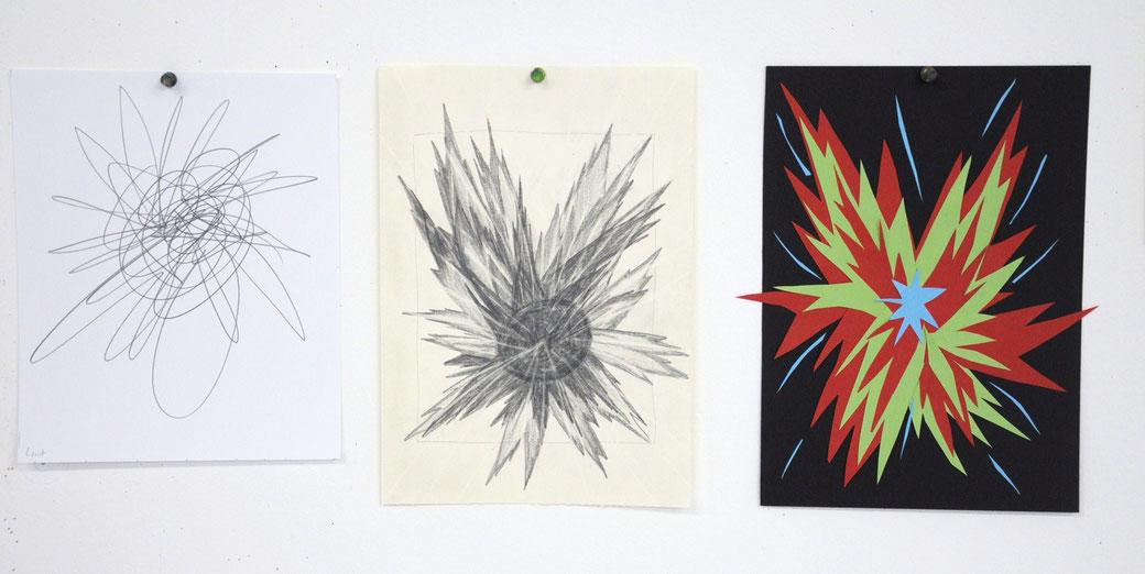 """""""Gefühls-Skizze"""", Zeichnung und Collage einer Teilnehmerin aus der Ausbildungsgruppe 2013/14 (8. Ausbildungsmodul, Thema """"Bildkomposition"""")"""