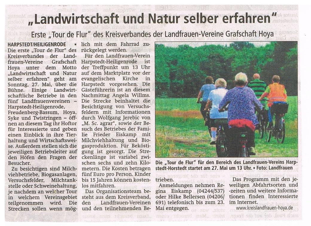 Artikel vom 16.5.2018 mit freundlicher Genehmigung der Kreiszeitung Syke
