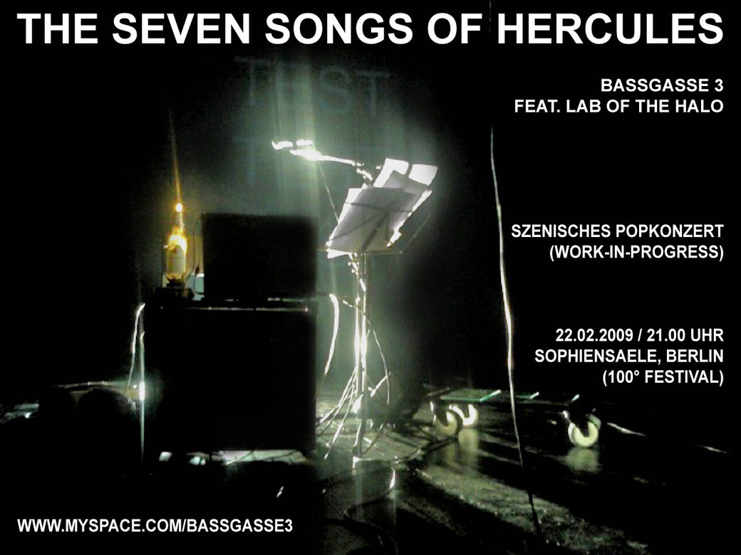 The Seven Songs of Hercules / szenisches Popkonzert / Regie - Sebastian K König, Christian Grammel / Musik - Lab of the Halo / 100° Festival Berlin / Plakat