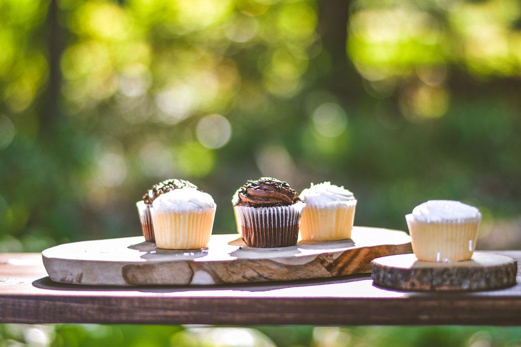Cupcakes, Kuchen, Muffins, Natur, Holz