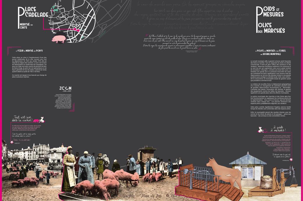 Texte de niveau 2 avec emplacement central pour oeuvre, composition et colorisation d'illustrations et d'images d'archives, 240 cm de haut