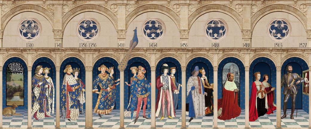 Visuel de la généalogie de ducs de Bourbon. Chaque personnage pivote et présente au verso des informations.