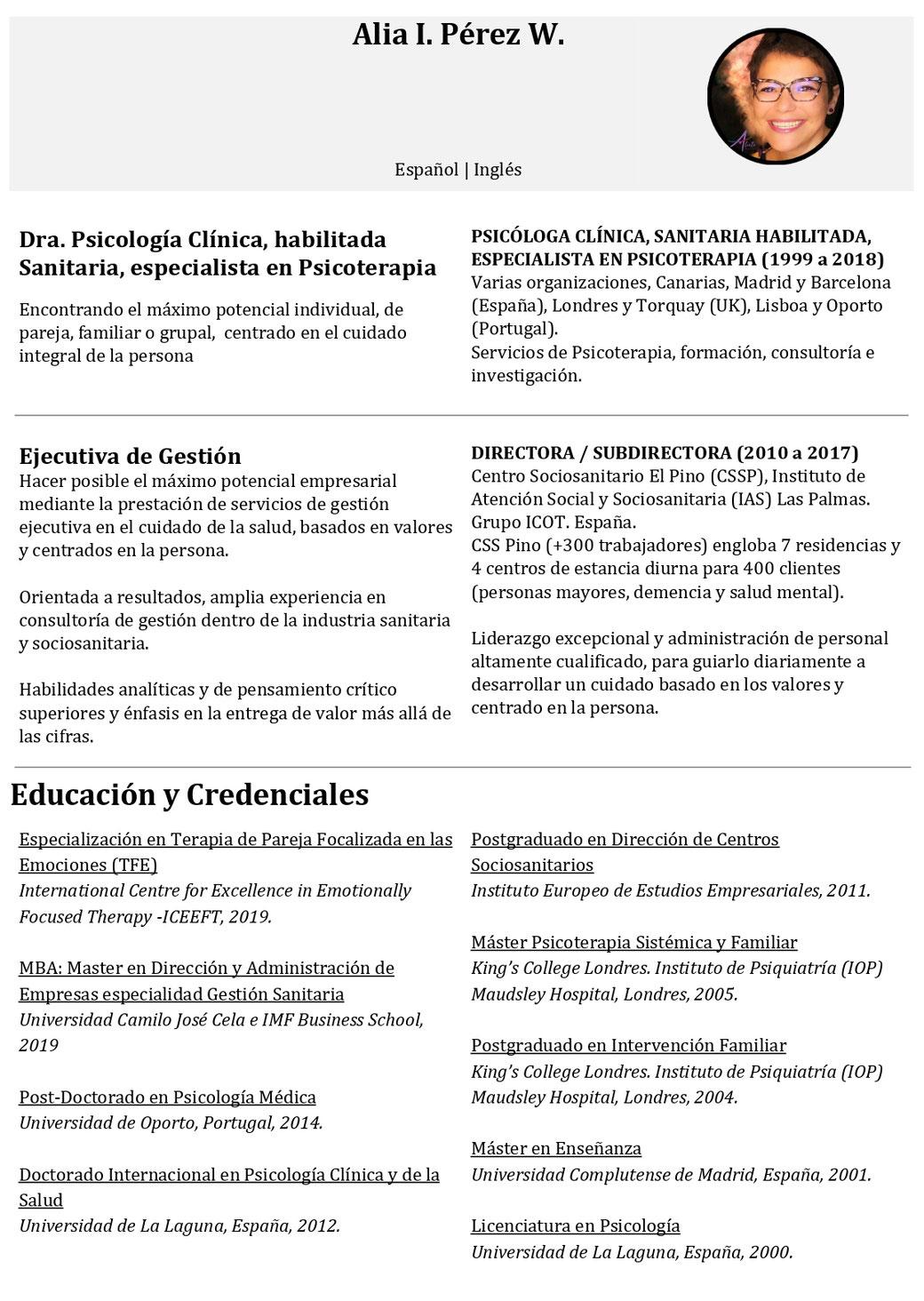 CV Alia Pérez - Alíate Psicólogos