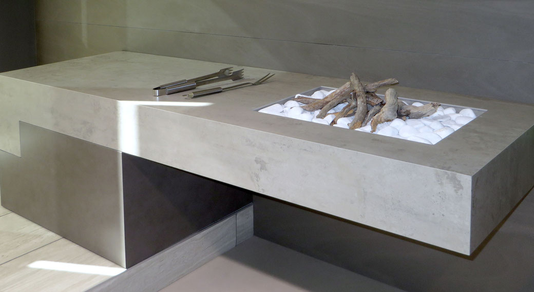 Sintered stone Neolith is resistant to heat, scratching and weather conditions, therefore often used for outdoor barbecues