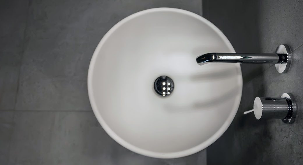Round sink made of acrylic stone by thermoforming