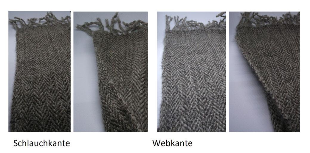 links 2x die Schlauchkante, rechts 2 x die Webkante