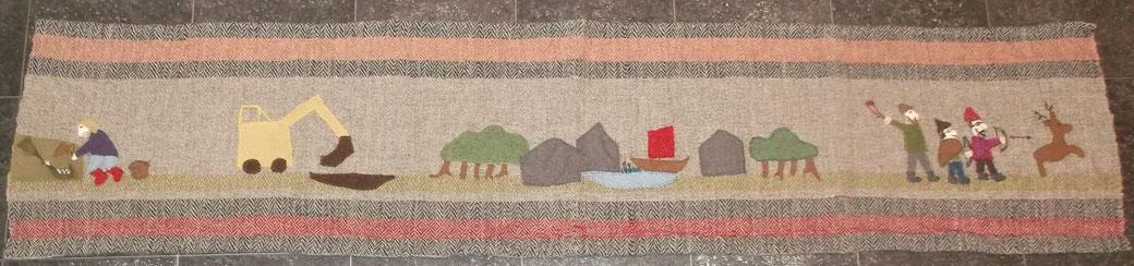 mein Starigarder Teppich : Applikationen aus Stoffresten auf handgewebem Untergrund (Wolle auf Wolle) 0,40 x 1,73m