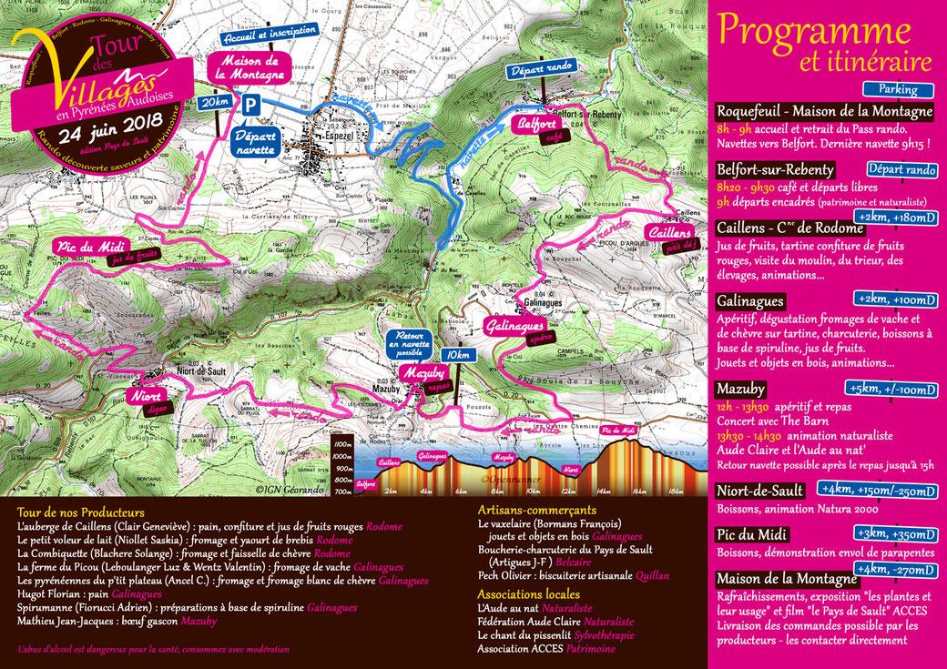 Programme Tour des Villages en Pyrénées Audoises 2018