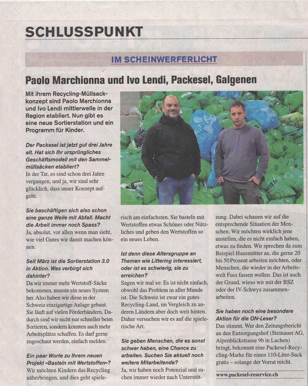 Bericht Obersee Nachrichten 22.04.2021