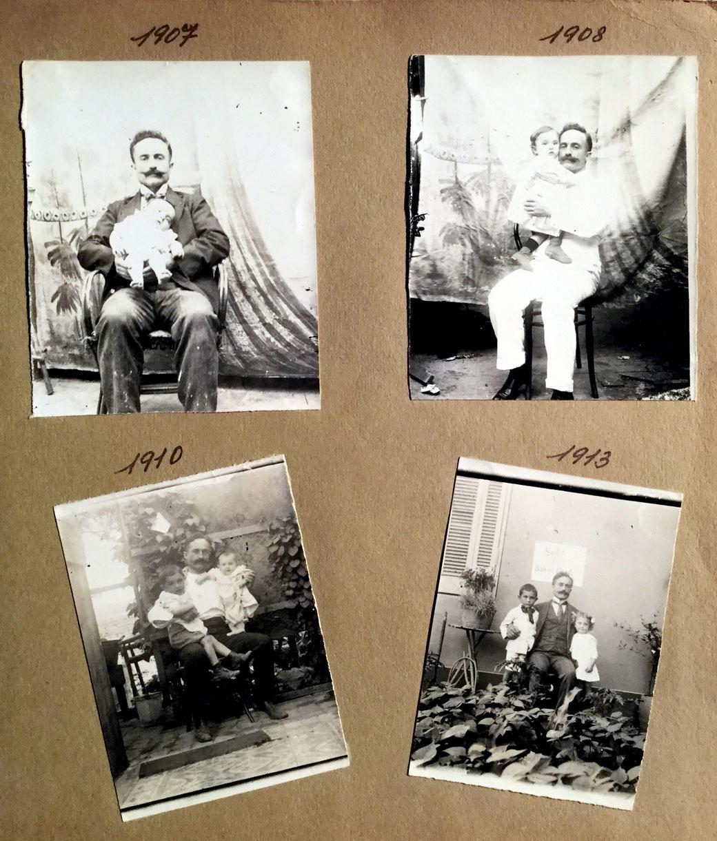 El abuelo Eusebio con sus hijos Ernesto,Maria y Carlos .
