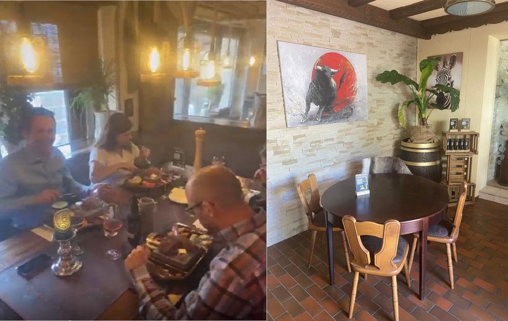 """Bilder-Auszug Hauptraum: Vier Gäste beim Essen ihres Menüs """"Heißer Stein"""", sowie  unsere Sitzplätze am wilden Stier."""