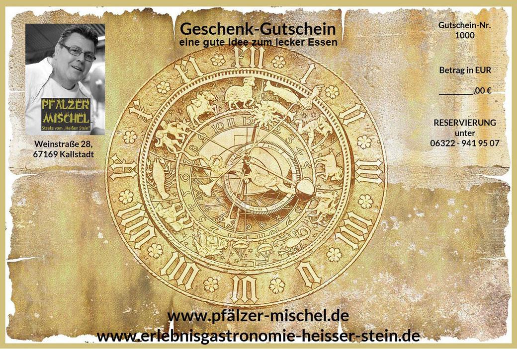 """Ein möglicher Geschenk-Gutschein """"Erlebnisgastronomie Heißer Stein"""" vom Pfälzer Mischel, Weinstraße 28, 67169 Kallstadt"""