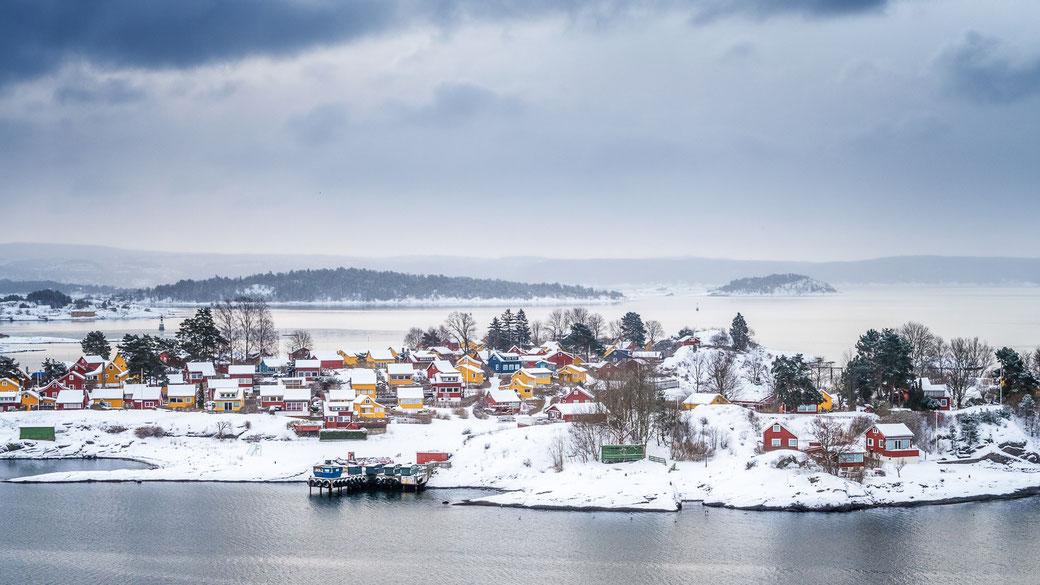 Oslo harbor in winterlandscape