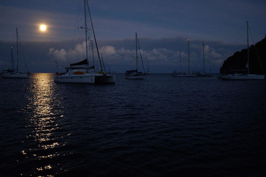 Am Abend vor unserer Abfahrt erleuchtet der Vollmond die Bucht von Deshaies