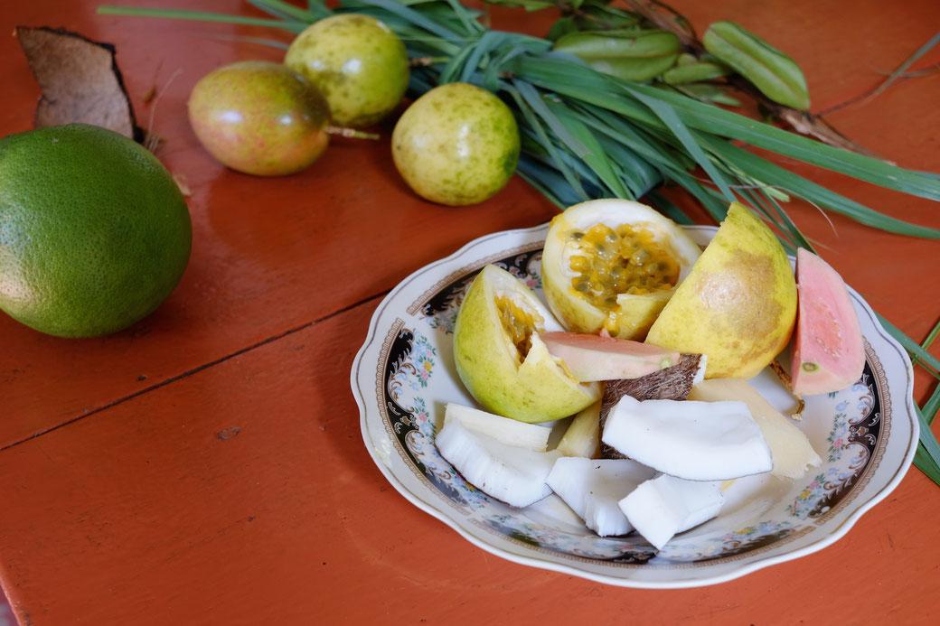 Früchte aus dem Garten: Grapefruit, Passionsfrucht (Maracuja), Zitronengras, Bay Leaves, auf dem Teller noch Guave und Kokos