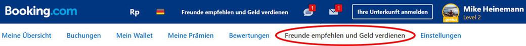 Empfehlung Booking.com Geld sparen Rabattcode Empfehlungslink
