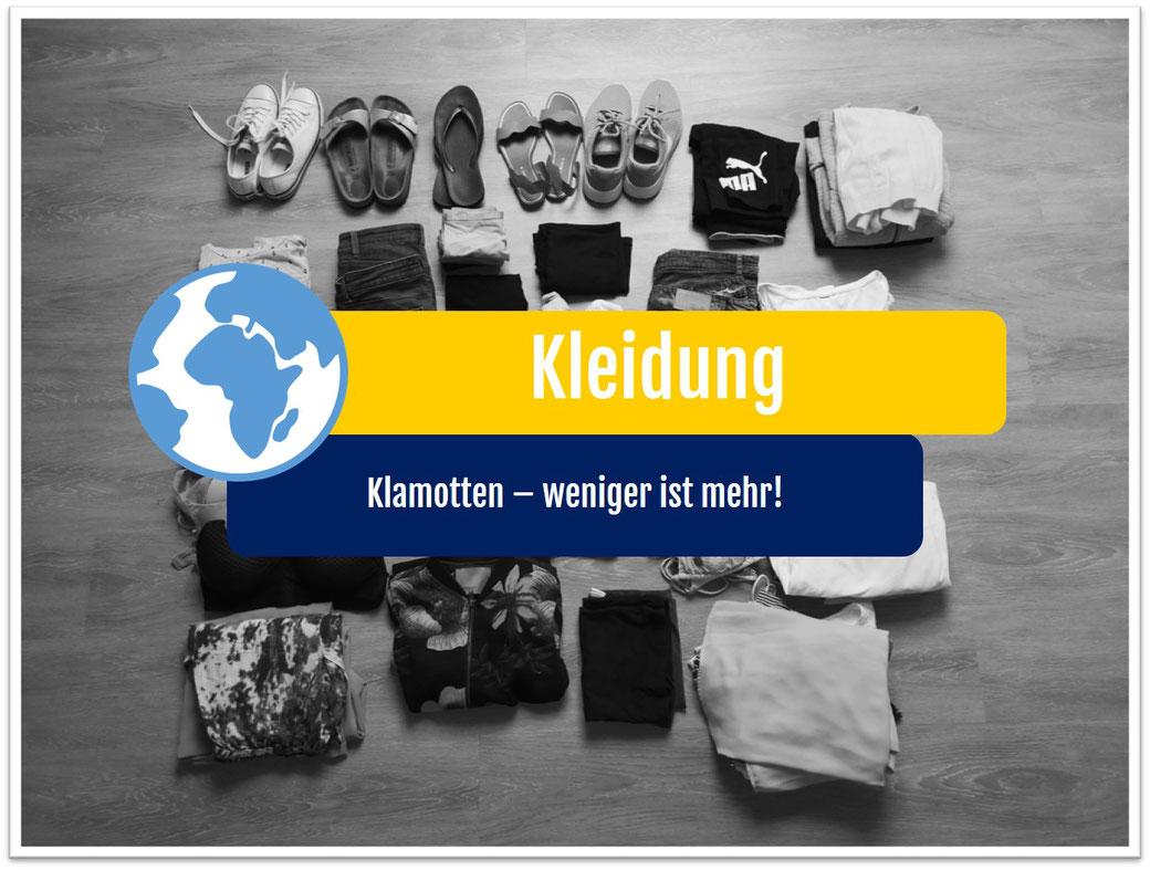 Weltreise Packliste Kleidung