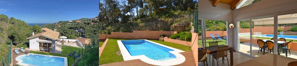 Location villa Begur avec piscine privée et vue sur le château de Begur.