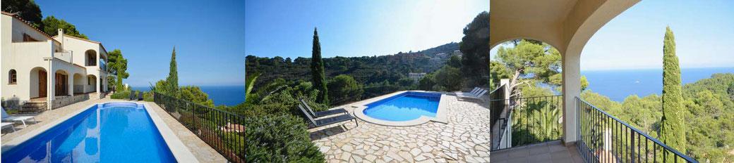 Belles villas à louer à Begur avec vue sur la mer et piscine privée, Begur, Costa Brava.