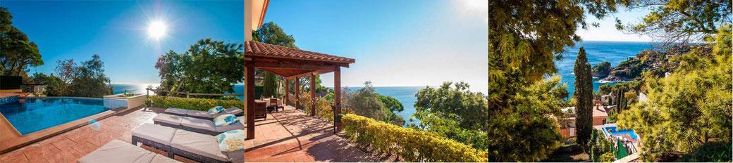 Cette belle villa en Espagne avec piscine privée et vue sur la mer se trouve dans le quartier résidentiel exclusif  de Cala Sant Francesc, à Blanes.