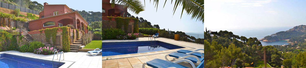 Location de villa à Begur pour 8 personnes avec piscine privée et vue sur la mer.