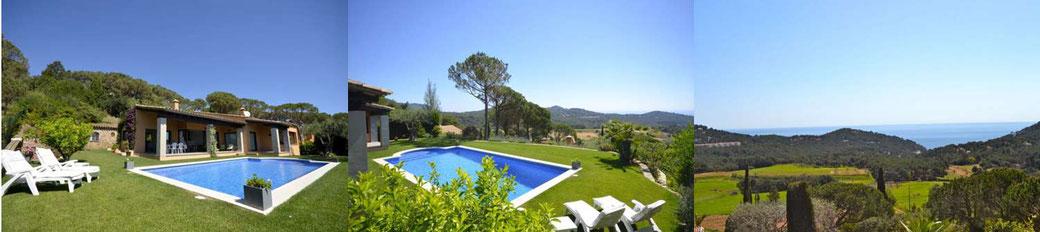 Belle maison avec piscine privée et avec une superbe vue sur la mer et montagne, située à Casa de Campo, un quartier résidentiel calme, à 4 Km du centre de Begur et de la plage d'Aiguablava, 3 Km de Tamariu et à 2 Km de Palafrugell.