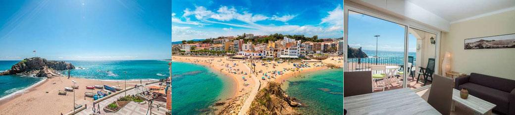 Location vacances grande maison située en bord de plage à Blanes sur la Costa Brava avec toutes les boutiques et restaurants à proximité.