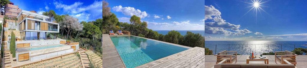Location villa Costa Brava. La villa bénéficie d'une situation très calme et d'une vue unique sur la méditerranée avec jardin et grande piscine privée de 12 sur 3 mètres avec une vue superbe sur la mer.