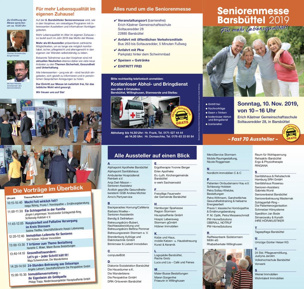 Flyer 8. Seniorenmesse Barsbüttel 2019 mit 1400 Besuchern und 60 Ausstellern