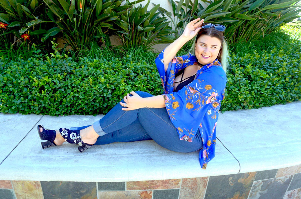 KIMONO FLEURS GRANDE TAILLE WET SEAL BLOG MODE FASHION PLUS BLOGGER