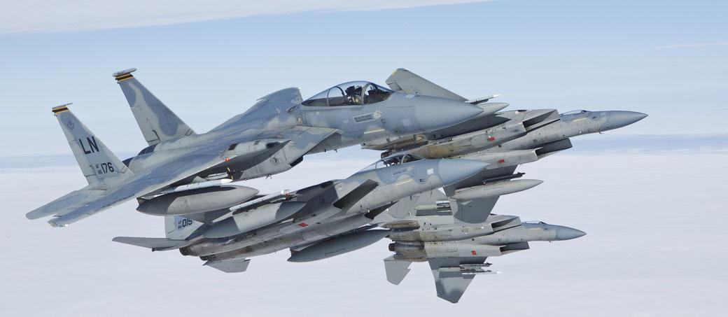Una formazione di F-15C del 493Rd Fighter Squadron / © USAF