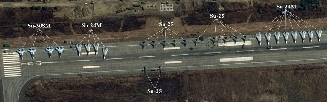 La Base aerea di Latakia da una foto satellitare.