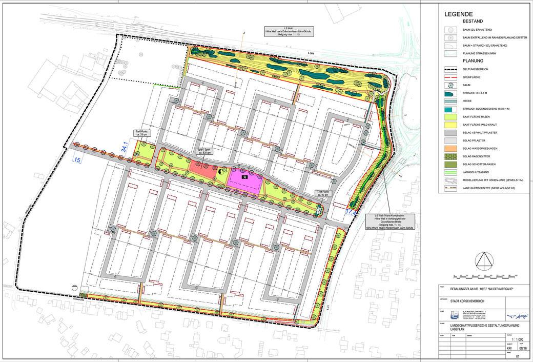 Lageplan der Grundstücke Korschenbroich-West mit Lärmschutz-Wall