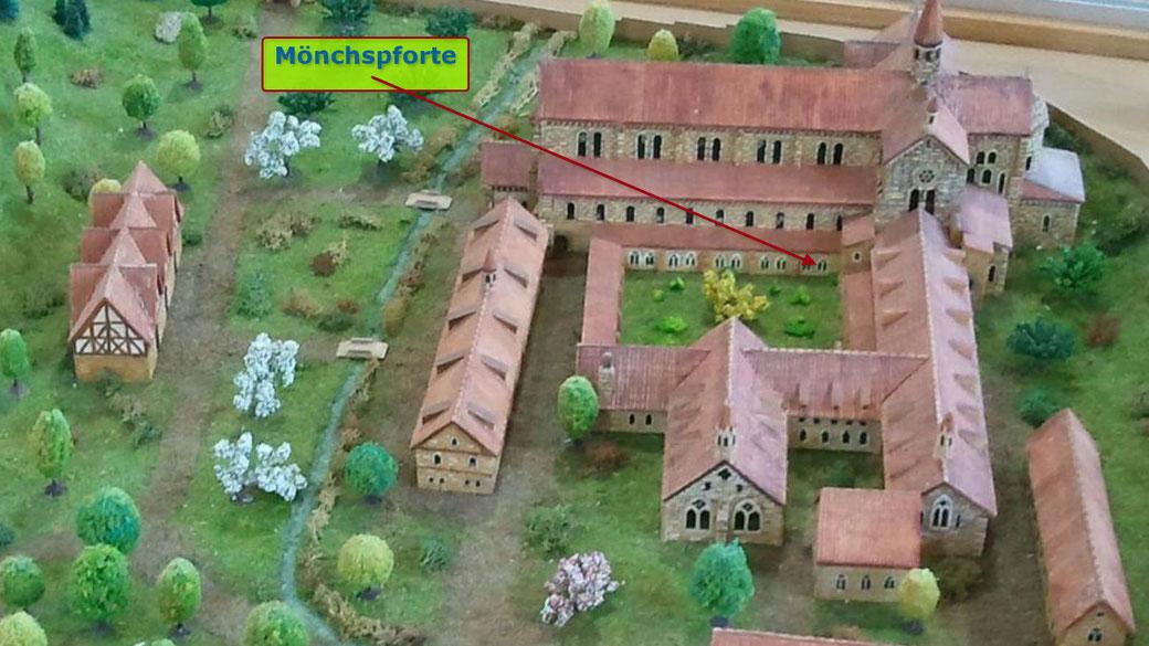 Mönchspforte, ehemaliges Kloster Otterberg, Ansicht aus Süden, Modell Heimatmuseum